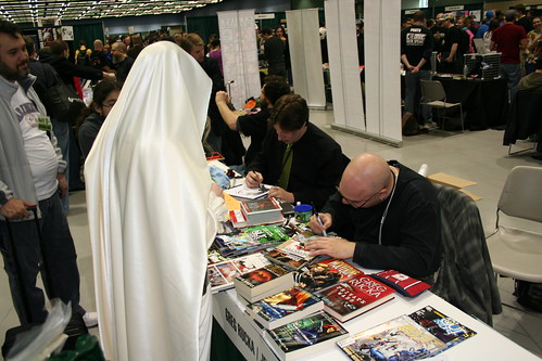 Erica getting Detective Comics signed by Greg Rucka
