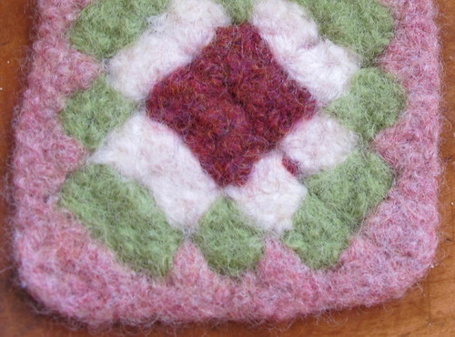 Felted Granny Coaster 3 up close
