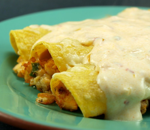 Chicken Enchiladas with Chipotle Sour Cream Sauce