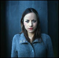 February VI (__Daniele__) Tags: blue portrait 120 6x6 film girl analog hasselblad analogue ektachrome epn
