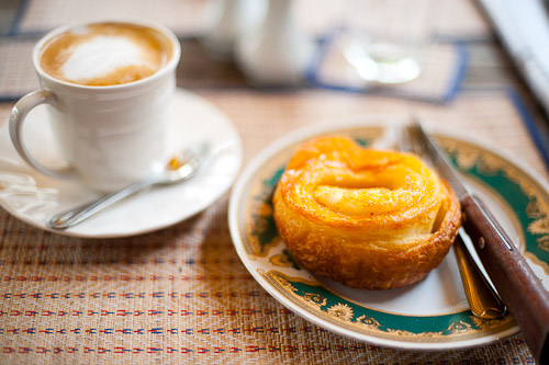 Cafe latte and kouign amman at Le Banneton, a French bakery in Vientiane, Laos