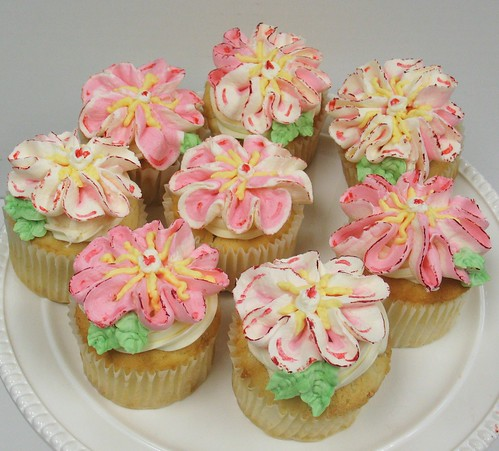 [Image from Flickr]:Large Whimsical Flower cupcakes $42/dz
