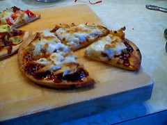BBQ chicken pizza sliced
