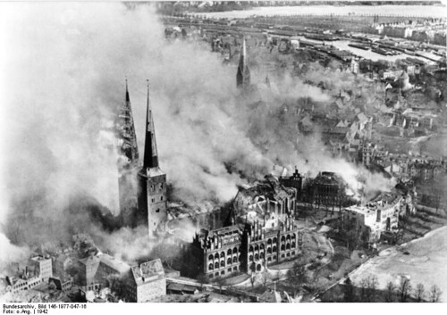 Burning Lübeck Cathedral after an air raid in 1942