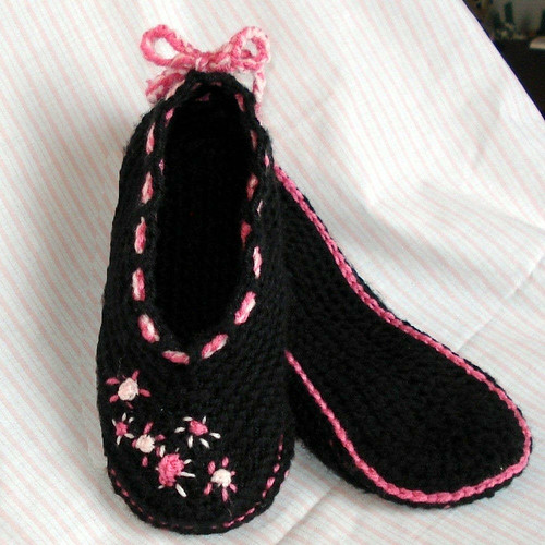 Crochet Pattern Central Slippers : CROCHET BALLET SLIPPER PATTERN