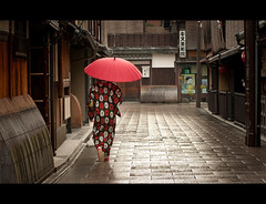 Rainy Morning In Kyoto (kaoni701) Tags: street old city morning travel portrait people woman rain japan umbrella sunrise photography nikon kyoto cityscape tokina maiko geisha   gion kansai 535 gp1 50135 d300s