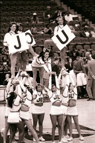 Cheerleaders. Stetson Hatters Basketball team vs JU team.