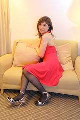 Red wine dress_3 (Kyoko Matsushita) Tags: stockings fetish asian tv legs cd crossdressing tgirl transvestite pantyhose crossdresser kyoko  matsushita nylon jambes beine minidress strumpfhose fetisch  collant  ftiche