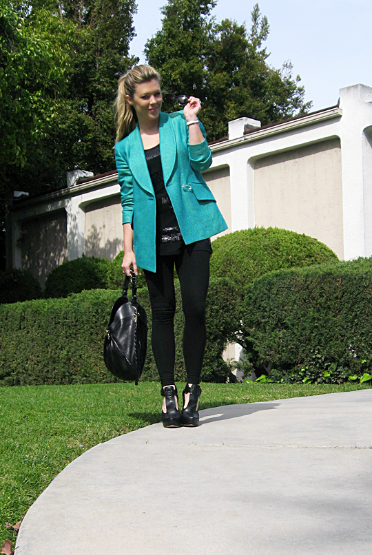 all black teal color pop blazer