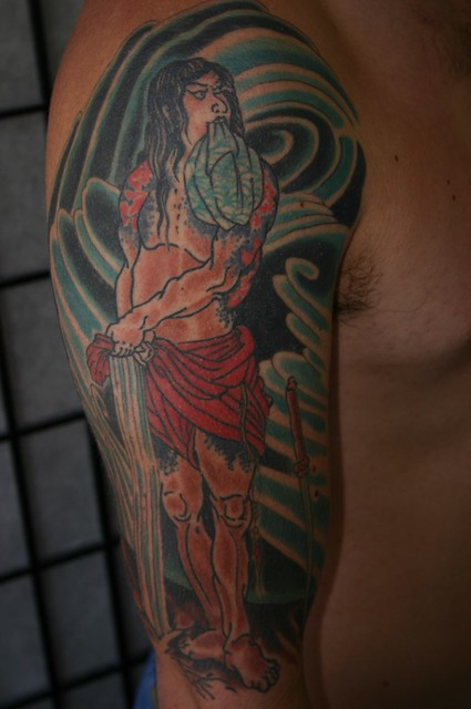 Jason Schroder, tattoo, Samurai tattoo, arm tattoo, Japanese style tattoo