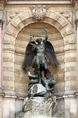 Place Saint Michel (BrianEden) Tags: travel paris france fountain statue french michael europe place stmichel fontaine