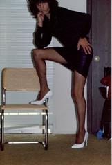 Old Pic- 1989 (cameraman344) Tags: skirt heels satin crossdresser spandex