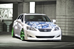 Lexus IS350 yum :) (Chad Lunn) Tags: blue urban white glass canon bride low wheels camo seats toyota l 5d 28 volks luxury 70200 jdm volk lexus stance sunpak 383 te37 is350 strobist stanceworks canibeat