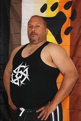 Self Portrait BEAR Flag (Mike WMB) Tags: bear portraits self goatee flag tshirt belly mustache 2010