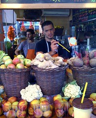 Postcards from Tel Aviv: fruit juice seller (misunderstories) Tags: summer man male guy portraits israel tel aviv worker