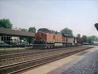 Westbound BNSF Railway freight train. Riverside Illinois. July 2007.