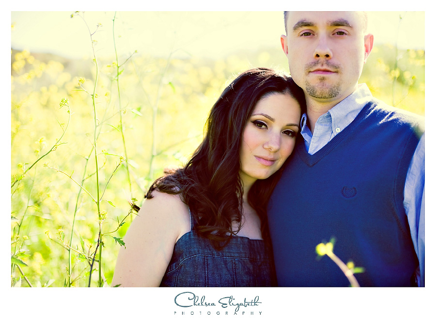 vintage mustard field yellow and blue attire engagement session with jean dress