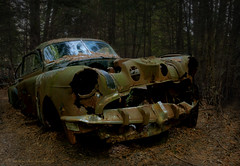 In the Dark (KvonK) Tags: old abandoned car dark rust greens yellows hdr wreckingyard tonemapped mcleans amongstthetrees nikond300s nikor18to200mmvrll