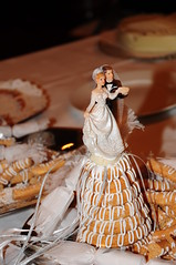Bride and groom on the marzipan ring cake