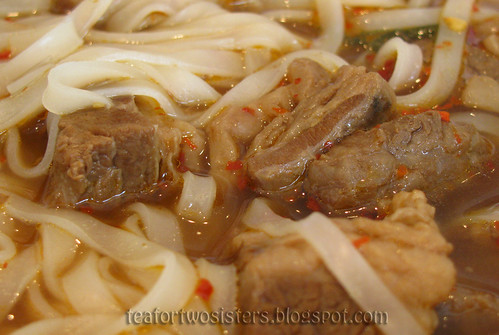 Spicy beef noodle soup closeup