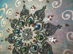 Savoy Truffle - Embroidery details (Magical Mystery Tuca) Tags: texture beads teal originalpainting copper iridescent sequins rhinestones seedbeads swarovskicrystals beadembroidery handembroidered octagoncrystals