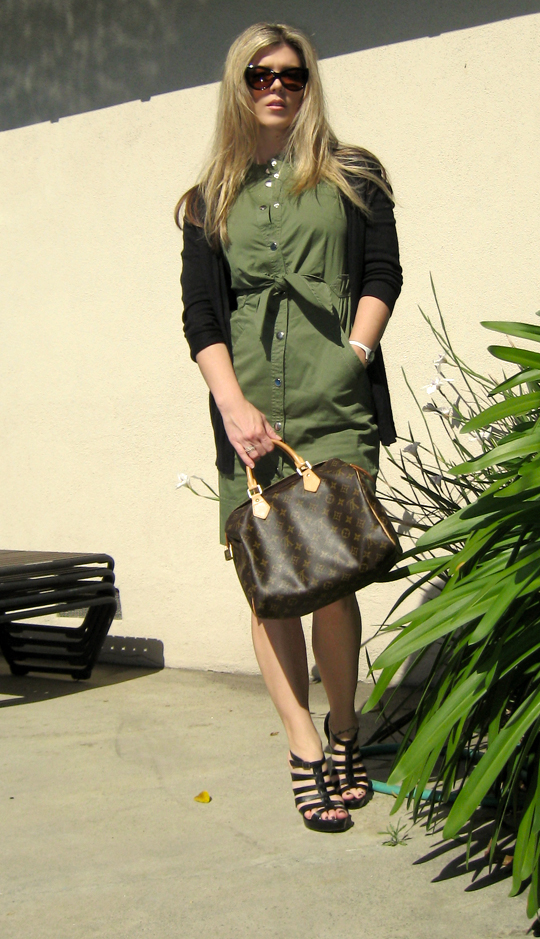 marc by marc jacobs army green shirt dress -6