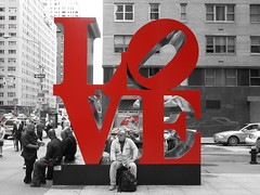 I Love Manhattan (Vancayzeele Olivier) Tags: life street city nyc light red people urban blackandwhite usa ny newyork man men art love car rouge photography photo flickr day noiretblanc lumire manhattan streetlife voiture jour amour rue ville homme gens urbain artiste etatsunis mywinners vancayzeele