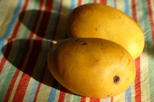 Two ripe Manila mangoes by Eve Fox, Garden of Eating blog