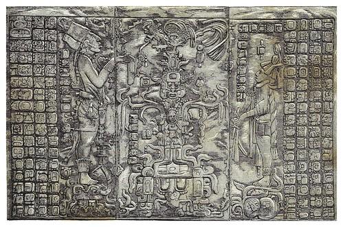 021-Grabados en piedra en el templo de la cruz-Palenque-Mexico-Les Anciennes Villes du nouveau monde-1885- Désiré Charnay