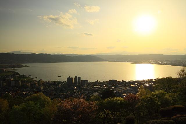 立石公園と諏訪湖