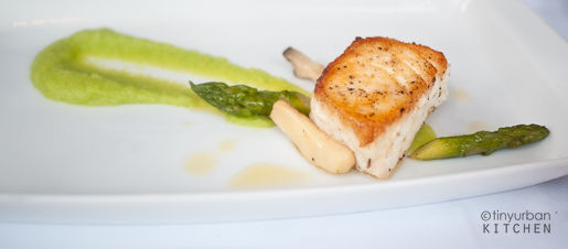 HALIBUT asparagus puree