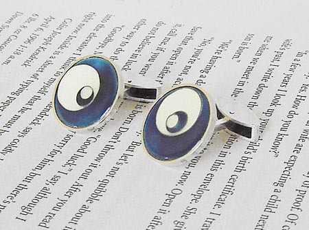 925 sterling silver and enamel cufflinks designed & handmade by Huiyi Tan