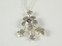 """Gems & Flowers"" Silver Necklace (EfratJewelry) Tags: silver handmade jewelry jewellery sterling gems 925 gemstones oxidized silversmith metalsmith sterlingsilver  amethist   semipreciousstones       efratjewelry"
