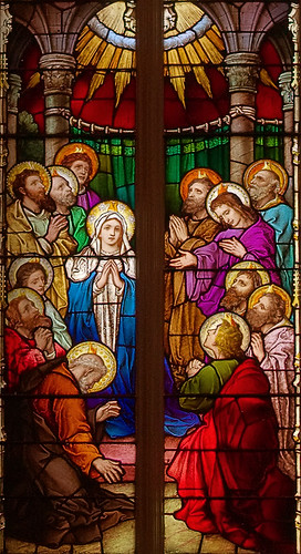 Saint Alphonsus Liguori Roman Catholic Church, in Saint Louis, Missouri, USA - stained glass window Pentecost