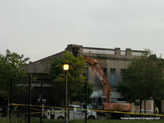 Demolishing the facade of Wisdom Bridge Theatre