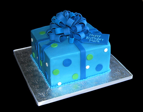 Happy Birthday Mark - Blue and green package cake with loopy bow
