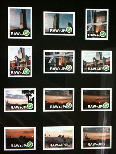 PowerShot S90、1200万画素のRAW+JPEG 84ショット168ファイル、1.15GB分の読み込み中。