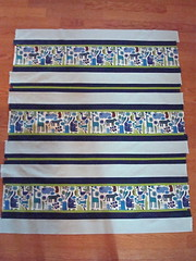 Preppy Strip Quilt Top (KMQuilts) Tags: modern stripes lime navyblue babyquilt alexanderhenry konacotton 2dzoo essexlinen avalanden