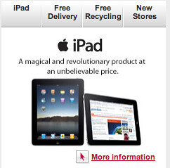 Currys homepage iPad box