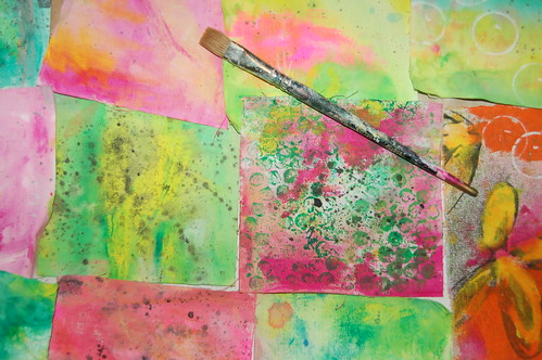 Green and Pink painted fabric (Photo by iHanna - Hanna Andersson)
