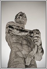 The Fighter (paolopenna) Tags: travel portrait bw italy holiday rome roma monochrome blackwhite nikon italia fighter body stadium monuments statua stadiodeimarmi ritratto monumenti d3 stadio 2470 combattente nikond3 afs2470