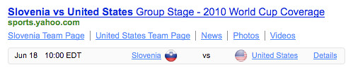 World Cup Slovenia v US Yahoo! Shortcut