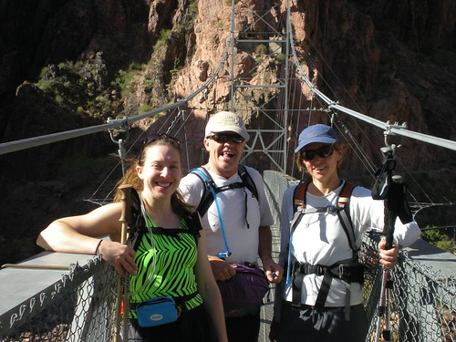 Clare, Barry, and Anne on Suspension Bridge over CO river