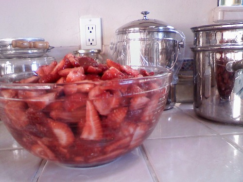 8lbs of strawberries  cut  some mashed  sugar sprinkled.