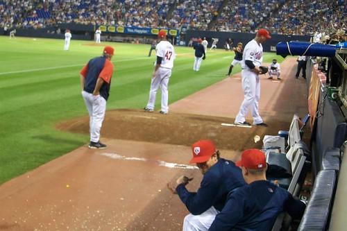 red up field minnesota twins jon francisco baseball hats target mound warming pitching bullpen metrodome rausch liriano
