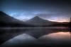 Sunrise at Trillium Lake, Oregon - HDR (David Gn Photography) Tags: morning reflection nature oregon sunrise landscape dawn lights scenic silhouettes mounthood hdr trilliumlake platinumheartaward canoneos7d sigma1020mmf35exdchsm platinumpeaceaward sigma50th