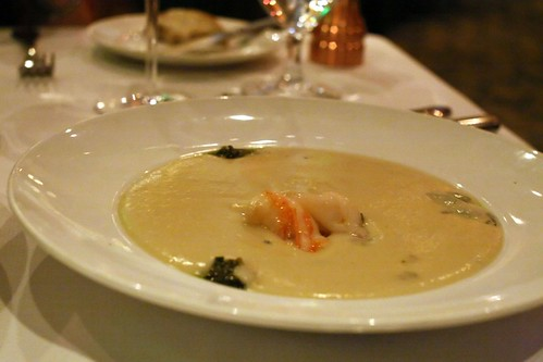 Artichoke veloute, butter poached shrimp, green garlic pesto, tarragon, citrus powder