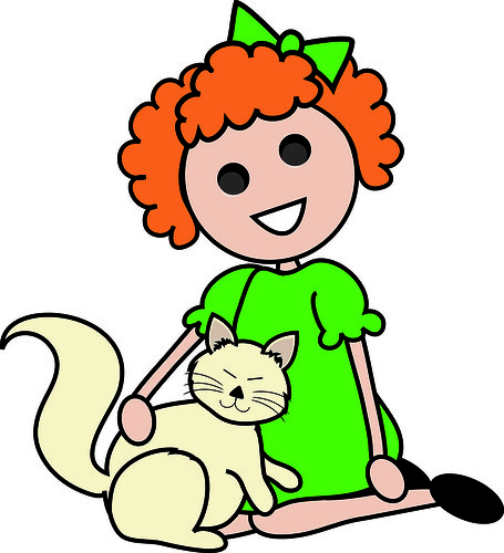 Clip Art Illustration of a Red Haired Cartoon Girl Sitting With Her ...