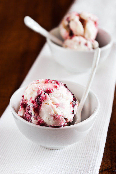 frozen yoghurt with cherry ripple