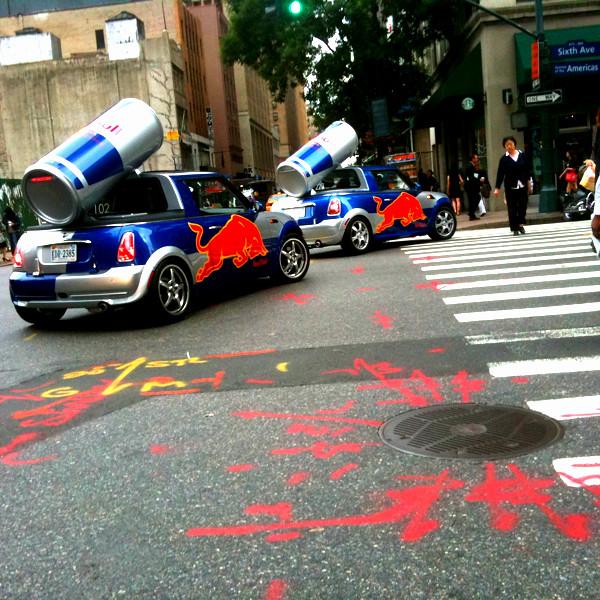 red bull cars everywhere #walkingtoworktoday